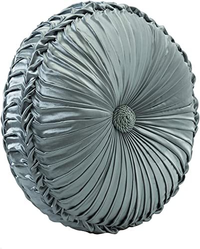 14 Karat Home Penelope Round Pleat Pillow 15 Ruched Sofa Bed Decorative Throw Pillow – Dusty Blue