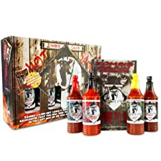 Zombie Cajun Hot Sauce Gift Set, Gourmet Basket Includes 4 (6oz) Bottles of the Best Louisiana Hot Sauce - Garlic, Jalapeno, Habanero, and