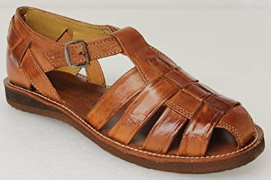 a20ef5ae7945 Men s 027 Rustic Cognac All Real Leather Mexican Buckle Huaraches Closed  Toe 12