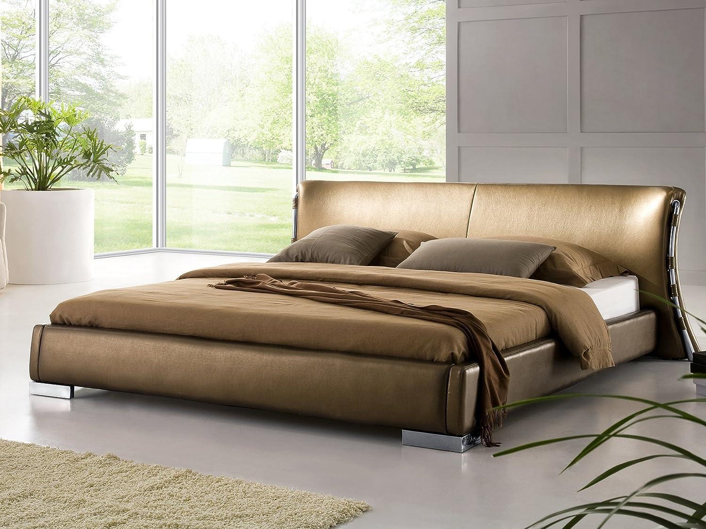 Lit design en cuir - lit double 180x200 cm - sommier inclus