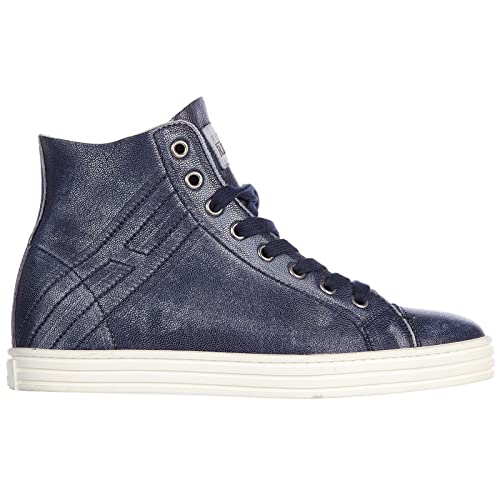 Hogan Rebel Scarpe Sneakers Alte Donna in Pelle Nuove r182 Rebel Vintage Blu  EU 35 HXW1820Q4007WNU810  Amazon.it  Scarpe e borse e9230388778