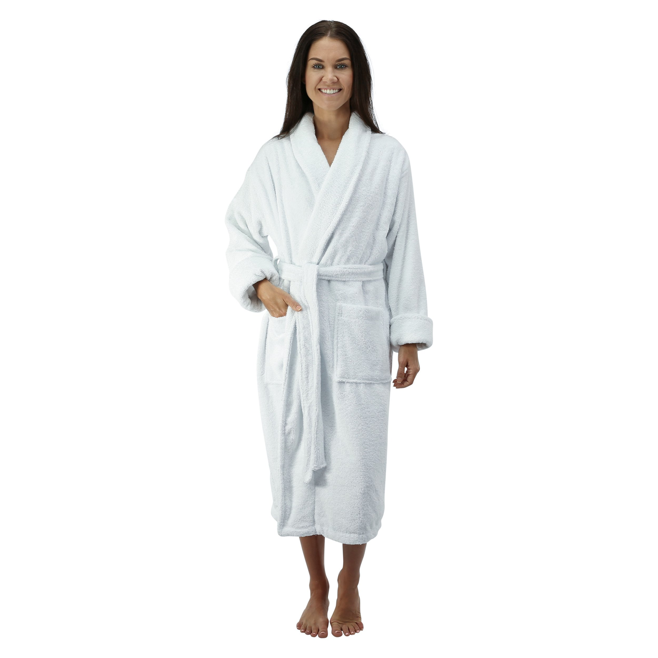 Comfy Robes Personalized Women's 16 Oz. Turkish Terry Cotton Bathrobe, XXL White