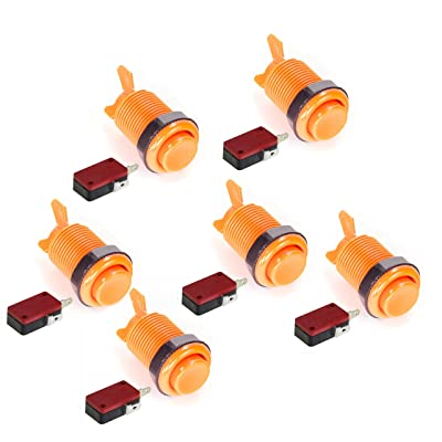 Atomic Market American Style 28mm Standard Arcade Push Button 6 Pack Orange with Microswitch: Toys & Games