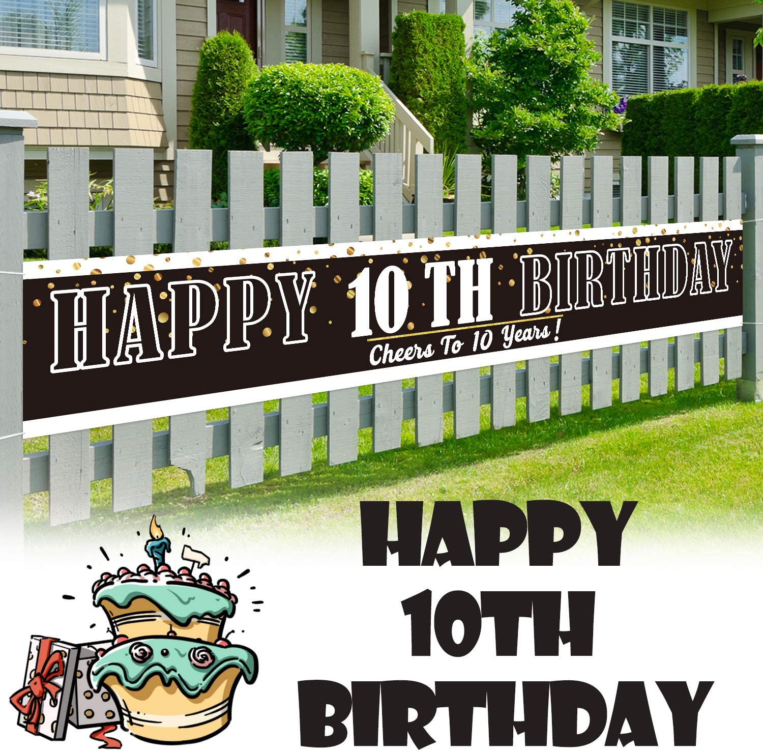 LINGPAR 9.8 x 1.6 ft Large Sign Happy 10th Birthday Banner - Cheers to 10 Years Old Decor