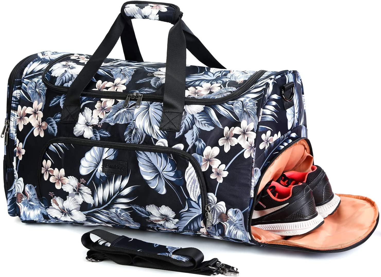 AmHoo Travel Duffle Bag have Exquisite Space Design for Weekend Overnight Carry on Bag with Shoes Compartment for Unisex Floral Black