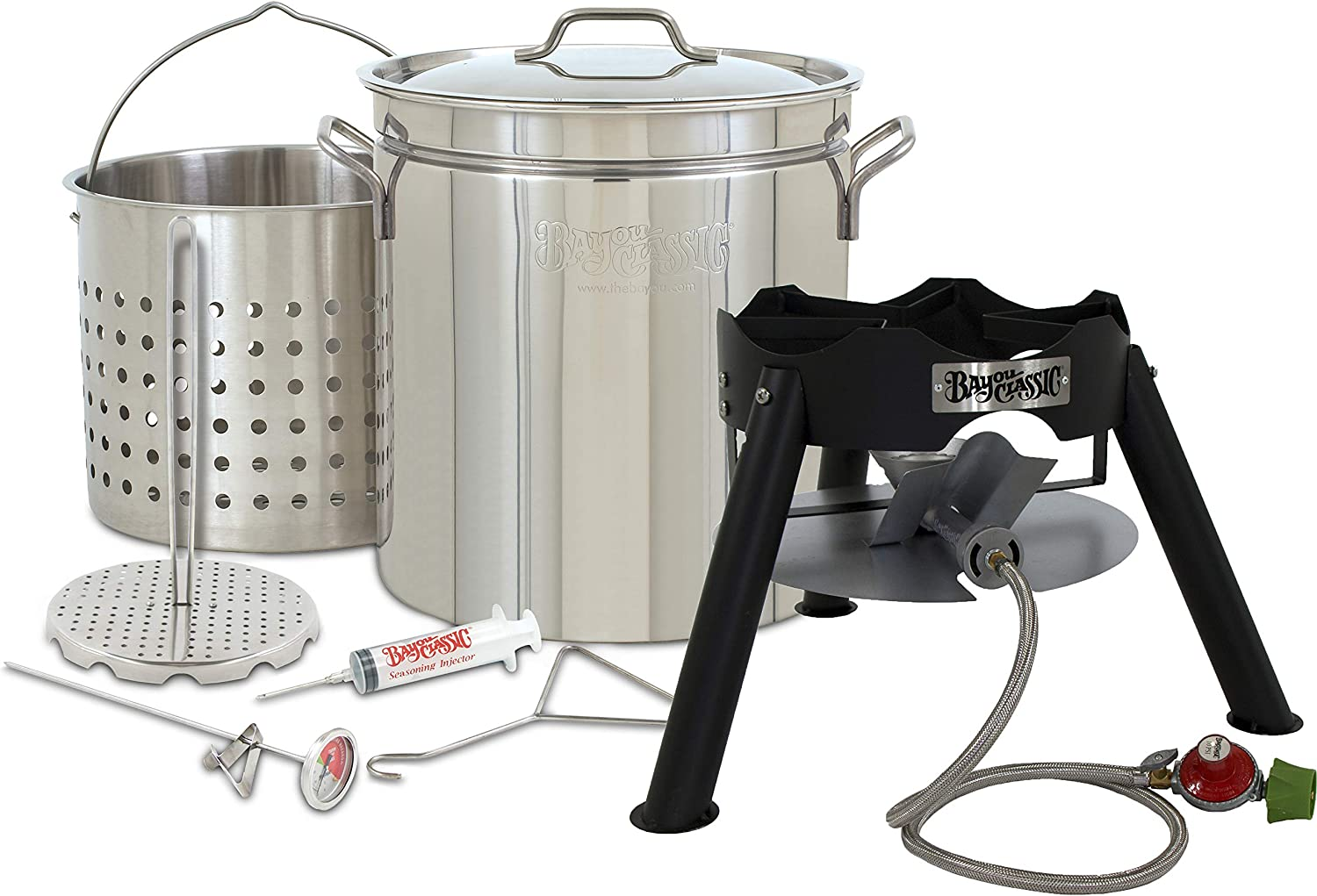 "Enterprises Complete Turkey Fryer Kit Oversized Big Big Stainless Stockpot w/Steel Burner Turkeys 25+ Pounds or Diameter of 13.5"" Low Profile Burner"