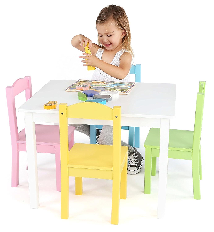 Amazon Tot Tutors Kids Wood Table and 4 Chairs Set White