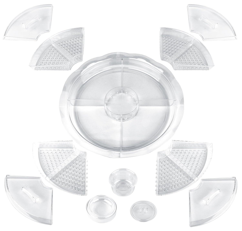 Estilo 8 Section Appetizer Platter On-ice with Lids