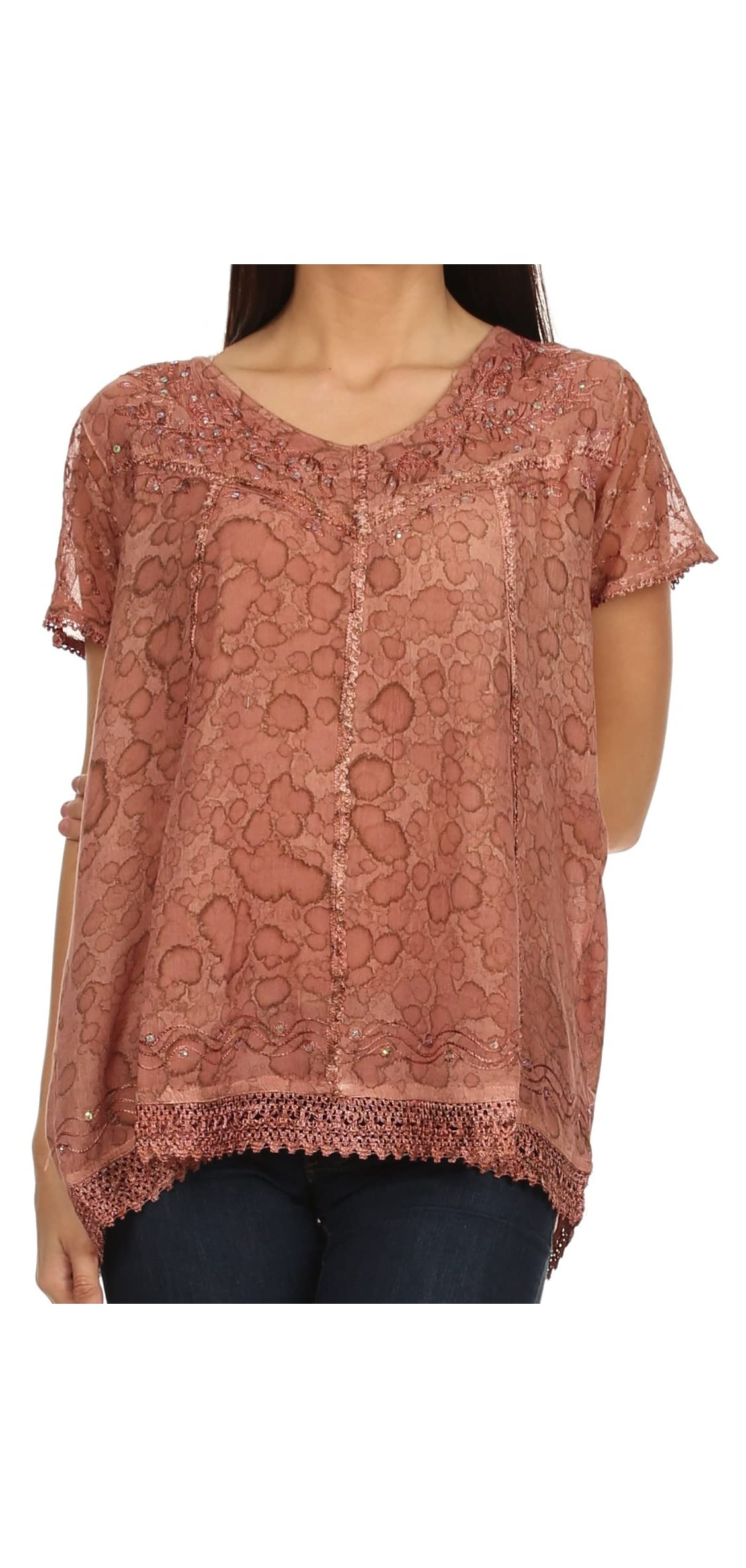 Charolette Embroidery And Seqiun Accents Blouse