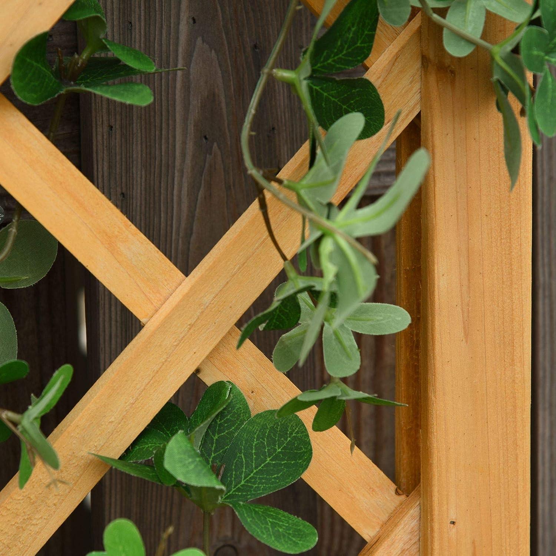 Vaso per Piante Rampicanti in Legno 40x40x160cm Outsunny Fioriera con Grigliato da Esterno o Giardino