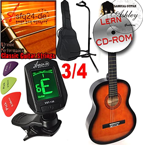 Original Ashley Set escolar Guitarra clásica, tamaño 3/4 de 10 ...