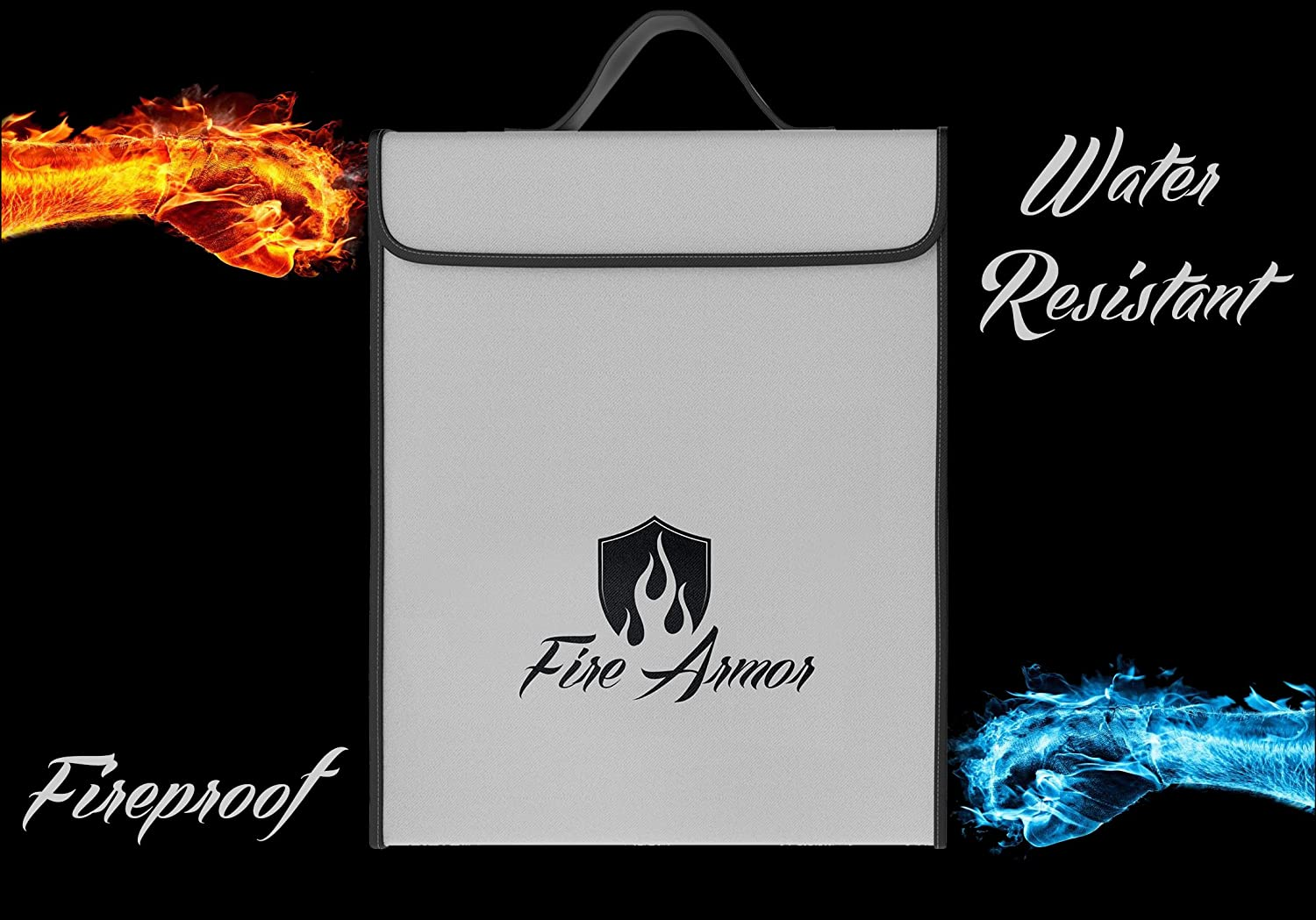 XXL No-Itch Zipper Closure Fire Armor -Double Layer- Fireproof Money Bag 16x12x3 Silicone Coated Fire Resistant Envelope Documents Pouch