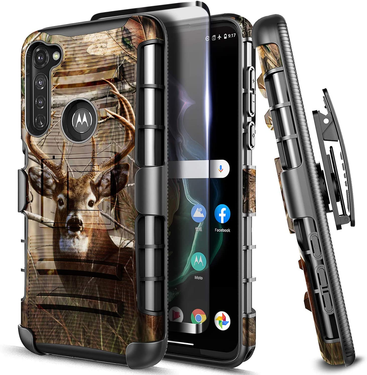 E-Began Moto G Stylus Belt Clip Holster Case with Screen Protector (Tempered Glass), Kickstand Heavy Duty Armor Defender Shockproof Rugged Case for Motorola G Stylus/Moto G Pro (2020 Release) -Deer