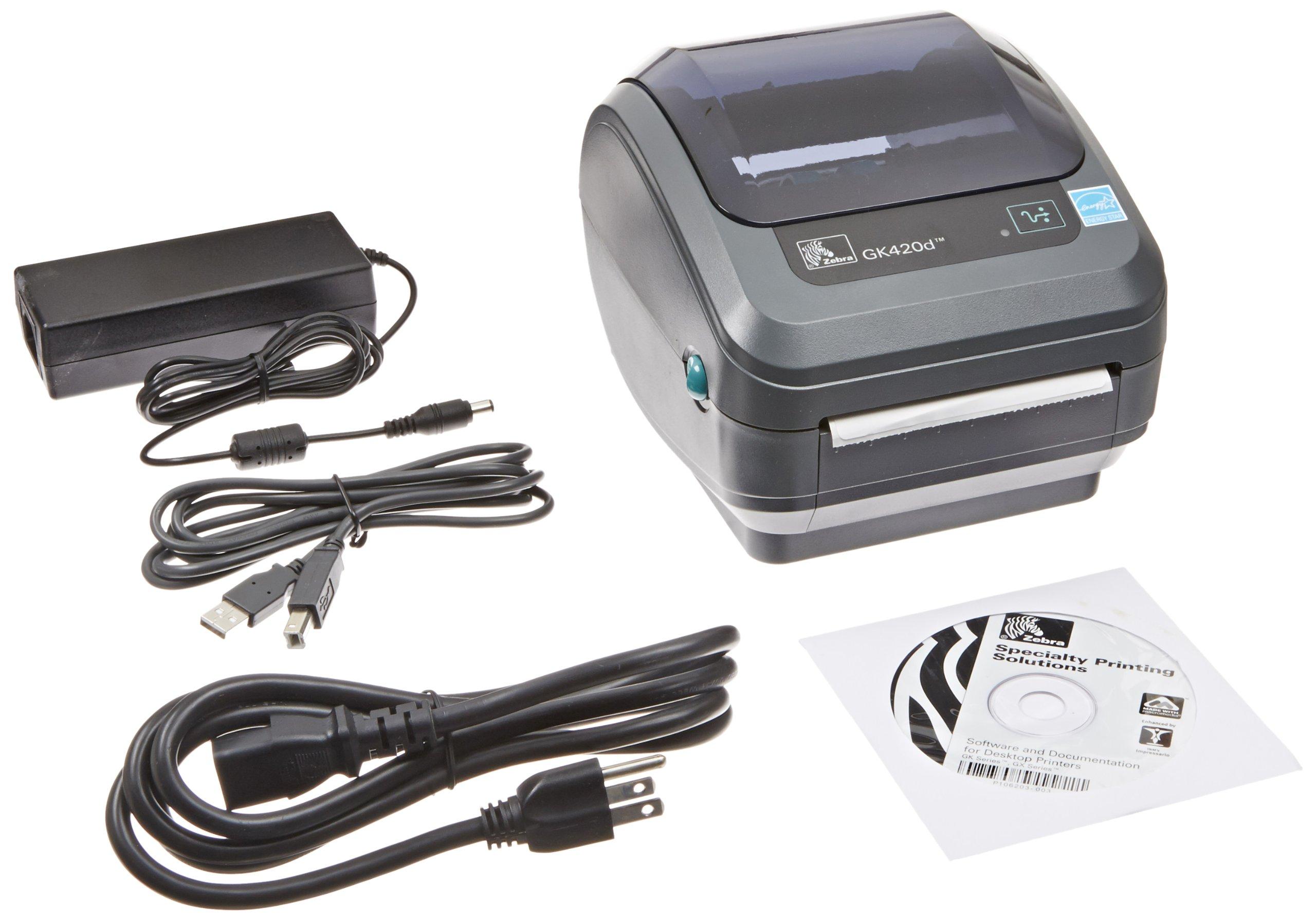 Zebra GK420d Monochrome Desktop Direct Thermal Label Printer, 5 in/s Print Speed, 203 dpi Print Resolution, 4.09'' Print Width, 100/240V AC