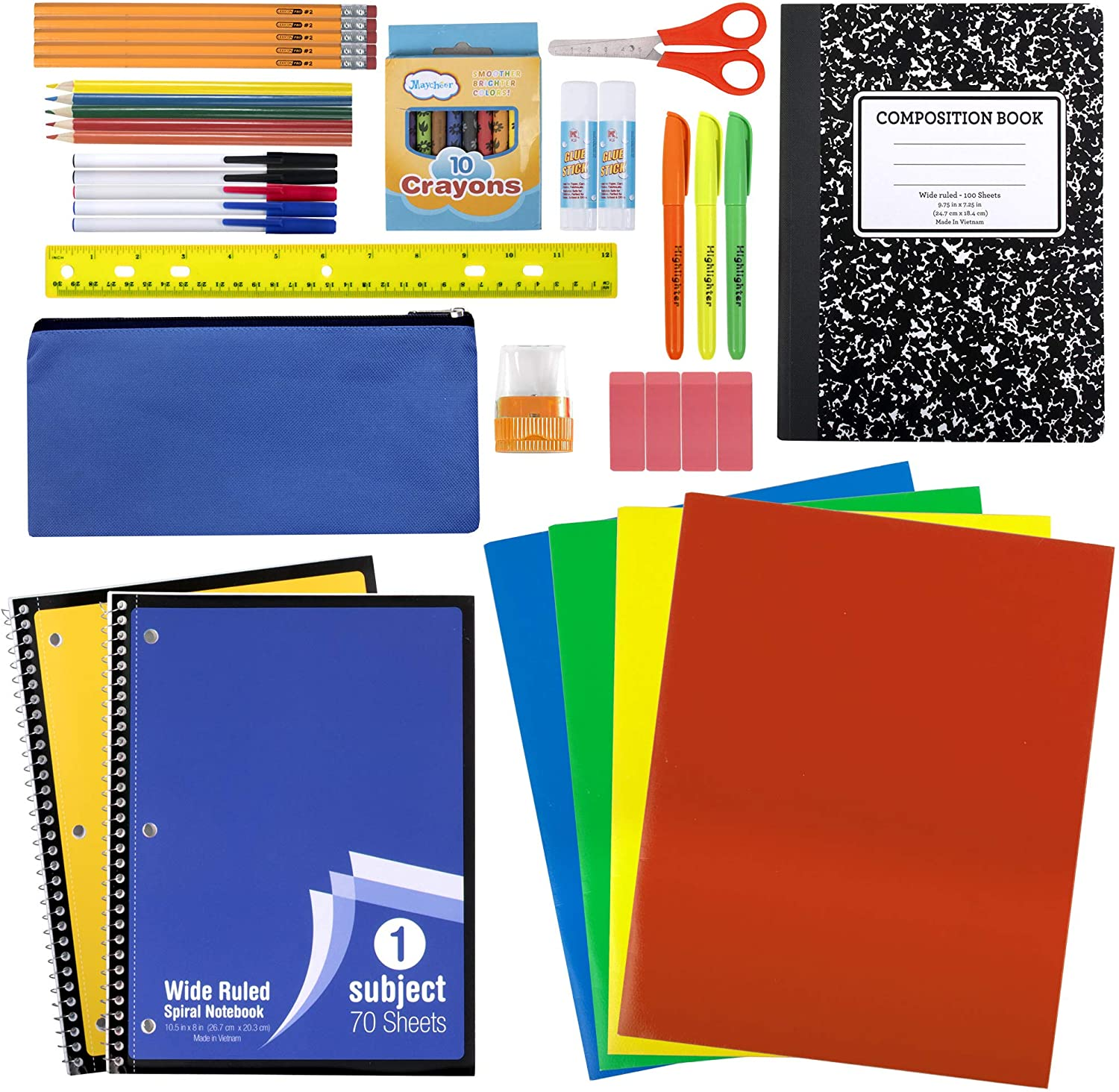 Amazon.com : 45 Piece School Supply Kit Grades K-12 - School Essentials  Includes Folders Notebooks Pencils Pens and Much More! : Office Products