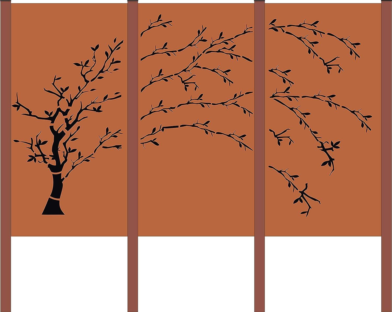 Amazon De Design Gartenzaun Sichtschutz 3 Teiliger Baum