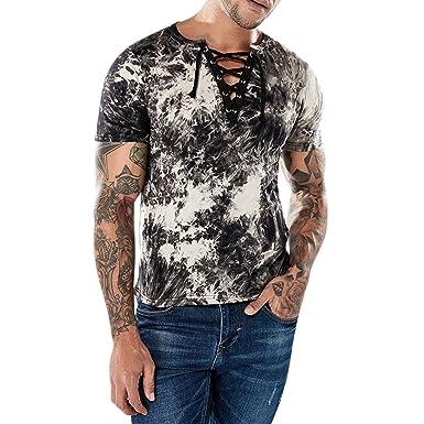 Semer Homme Top Garçon T-Shirt Col V Corde Serrage Imprimé Fleur Floral  Mode Blouse 3cd623cbfed7