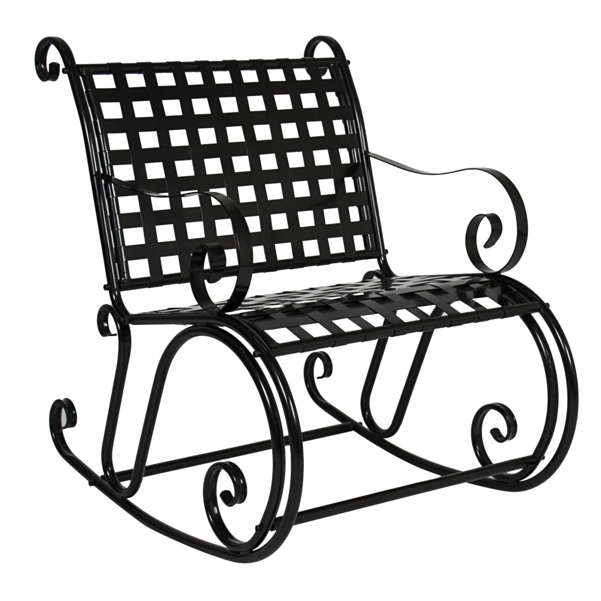 Outdoor Patio Outdoor Solid Iron Scroll Rocker Porch Rocking Chair Backyard Antique Seat Black #269