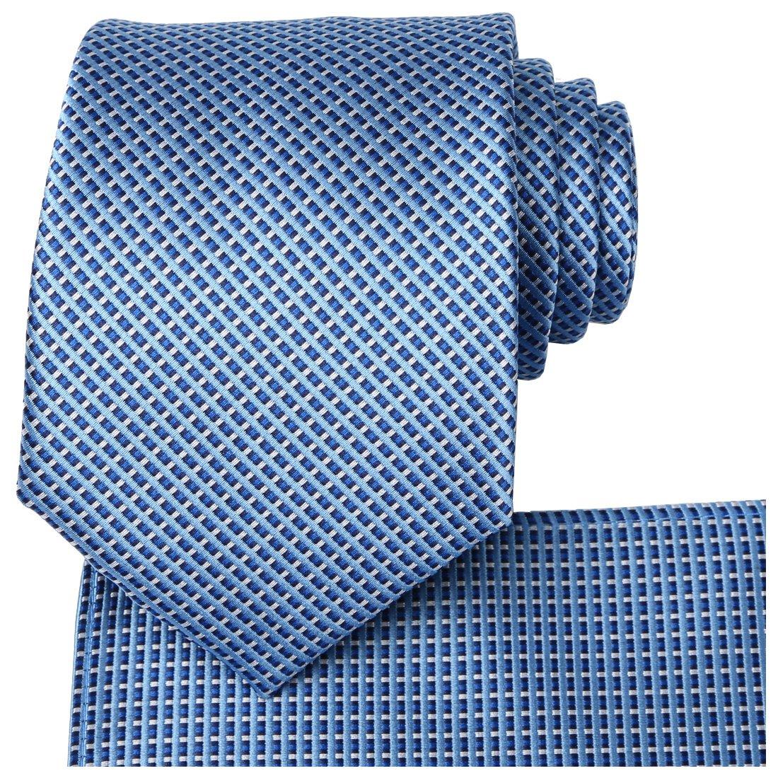 KissTies Mens Blue Tie Set Blue Ties + Pocket Square