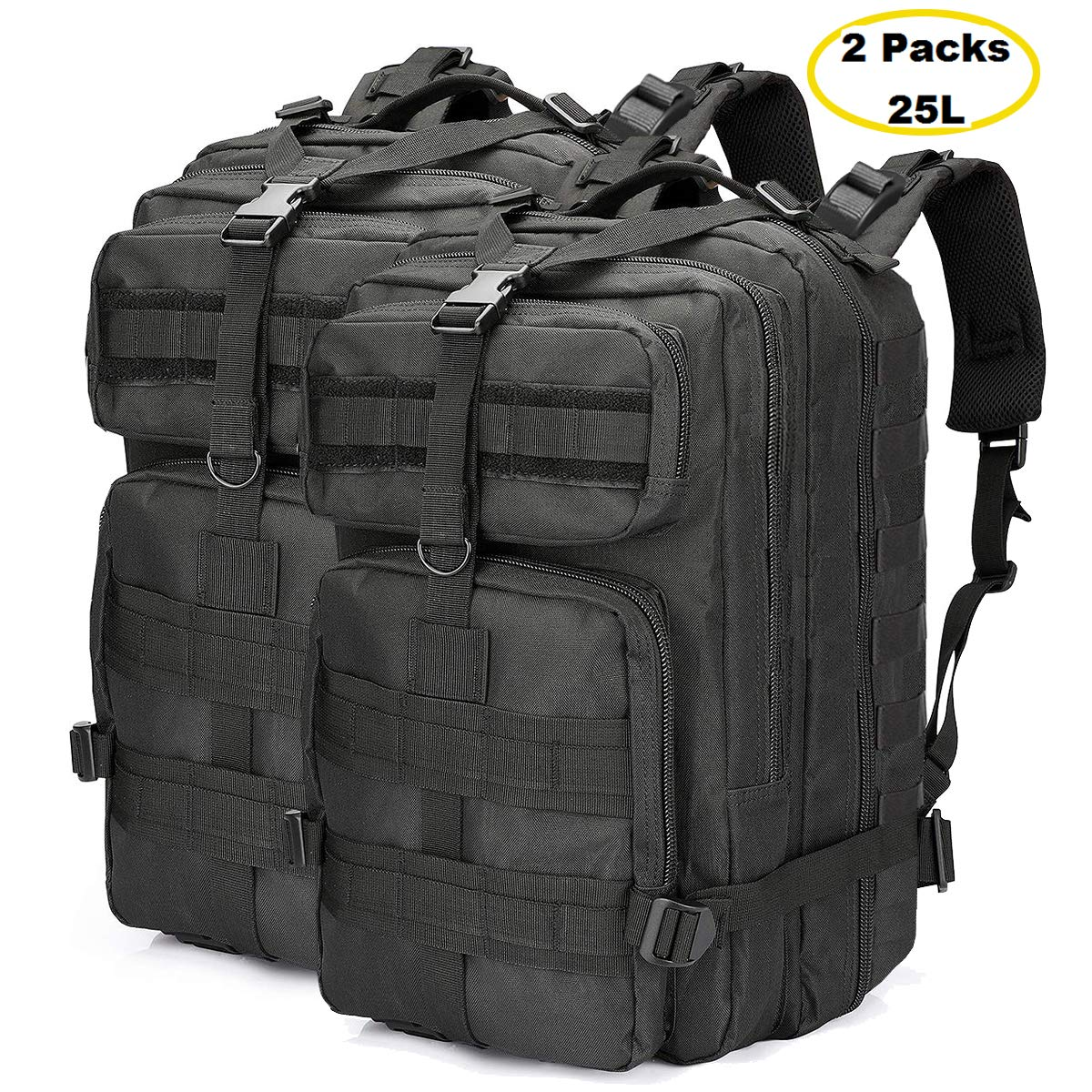 ALTBP Military Tactical Backpack, Sports Fan Backpack Army Assault Rucksack Backpack Molle BugOut Backpack, Hydration Backpack for Outdoor Hiking Camping Trekking Hunting(Black Upgraded 2Pack, 25L) by ALTBP