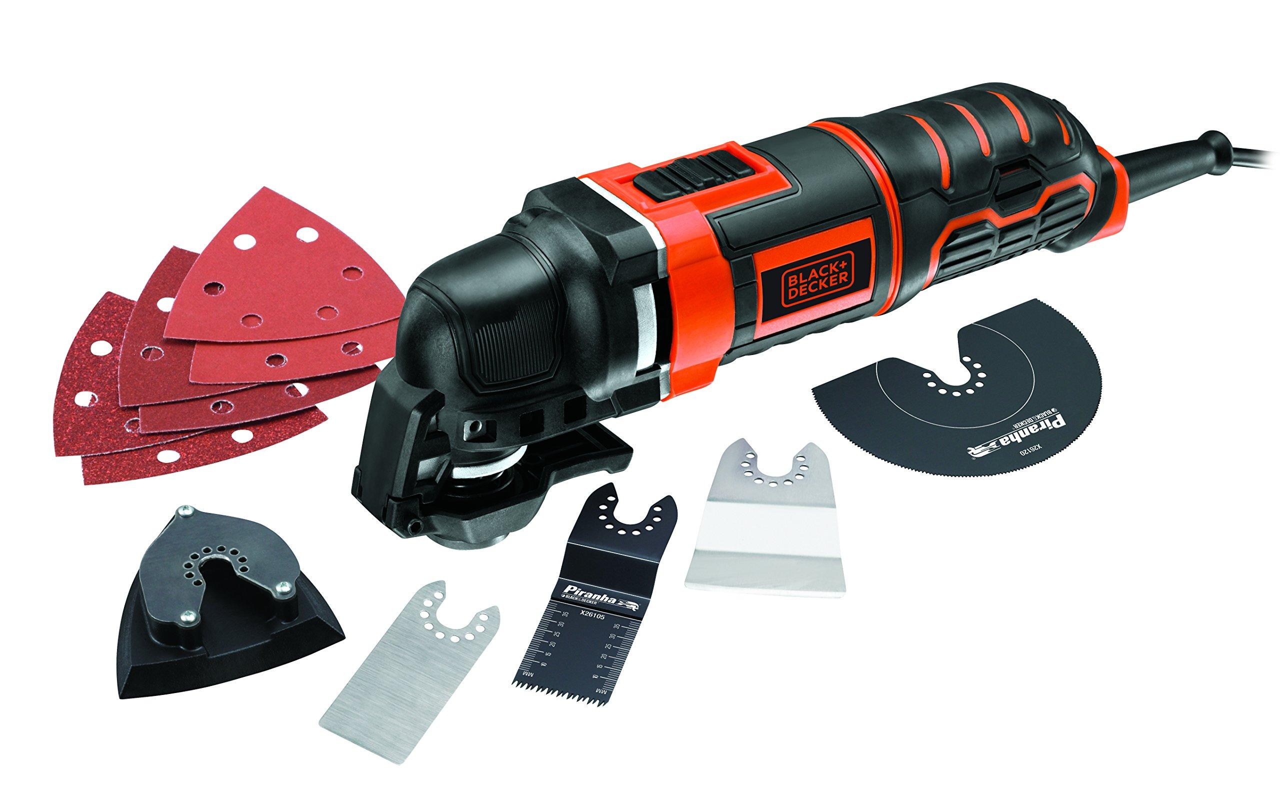 BLACK+DECKER MT300KA-QS Multiherramienta oscilante 300 W con 5 acoplamientos, 6 Hojas de Lija y maletín, 230 V product image