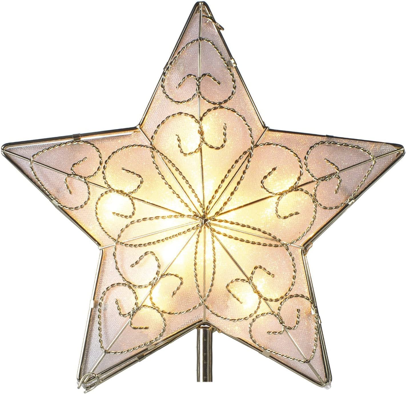 Kurt Adler 10 Light Indoor UL Star Treetop - Fits Perfectly On Christmas Tree Silver Trimming Pattern