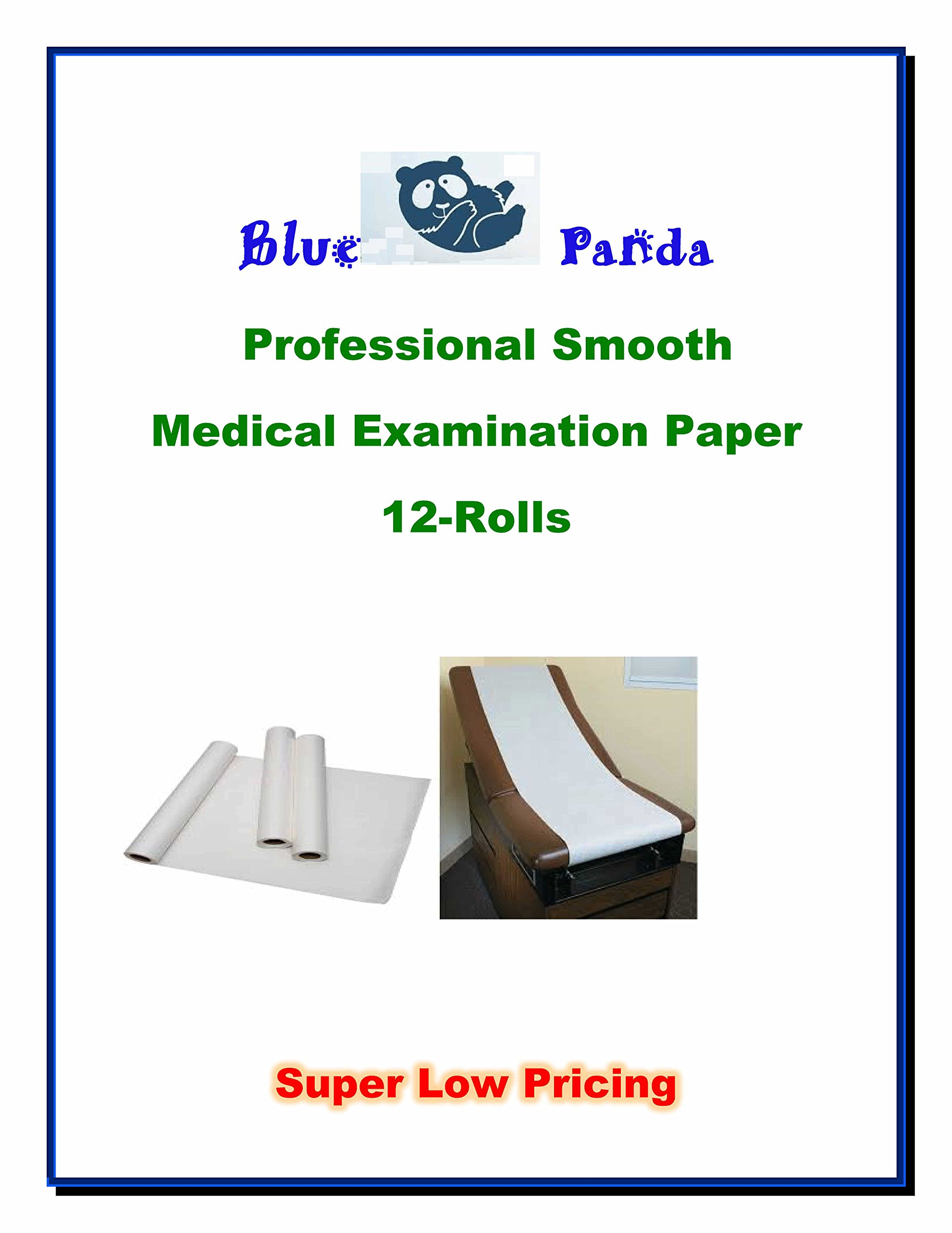 Blue Panda Examination Table Smooth Paper 14'' x 12 Rolls x 225ft
