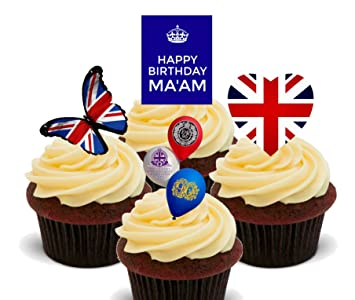 Happy Birthday Maam Queens 90th Edible Cupcake Toppers
