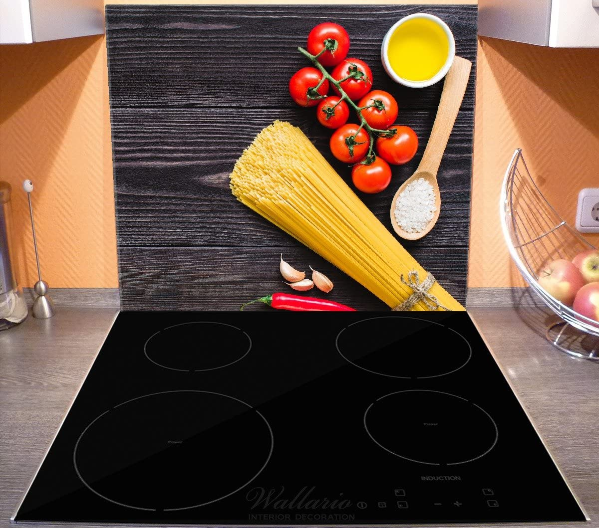 Wallario Herdabdeckplatte 1-teilig aus Glas 52x60cm Italienisches Menü
