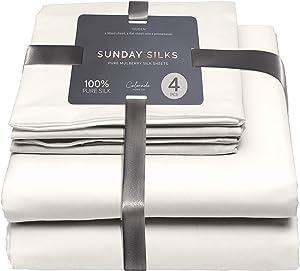 Colorado Home Co – 100% Silk Sheets 4pcs - Mulberry Silk Luxury Bedding Set Queen - 22 Momme - Deep Pocket Fitted Sheet, Flat Silk Sheet, Silk Pillowcase Twin Set – Pure White