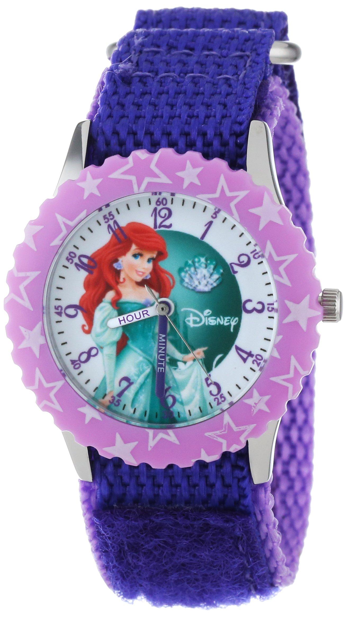 Disney Kids' W000866 ''Ariel Time Teacher'' Stainless Steel Watch with Purple Nylon Band by Disney