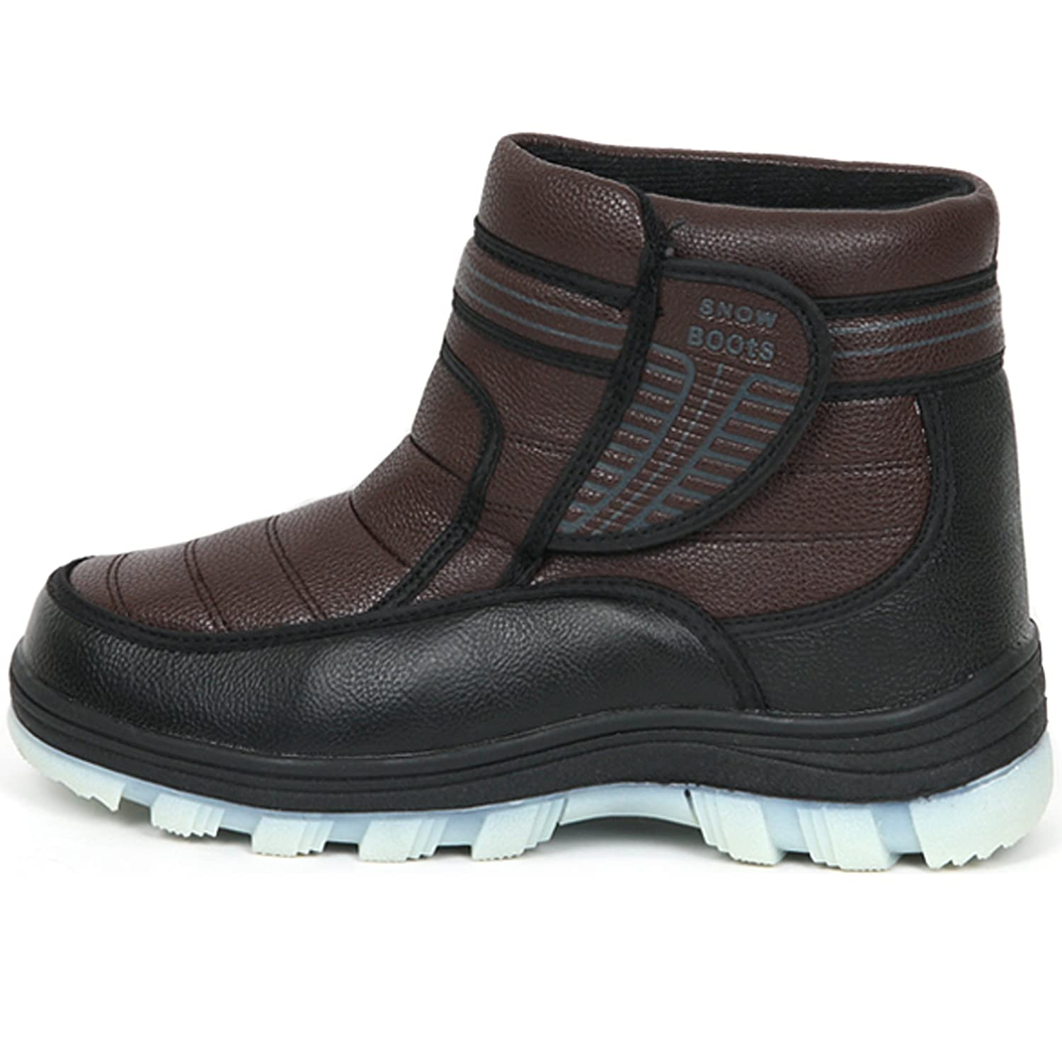 New Black Brown Mens Winter Comfort Velcro Ankle Boots Snow Warm Shoes