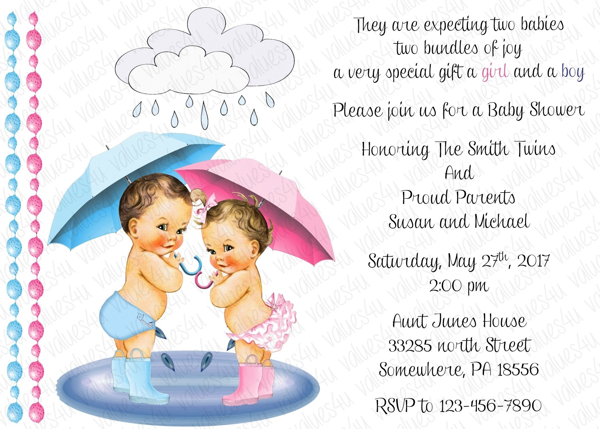 Personalized Baby Shower Invitation Twins (girl and boy 2056) (sold in packs of 12)