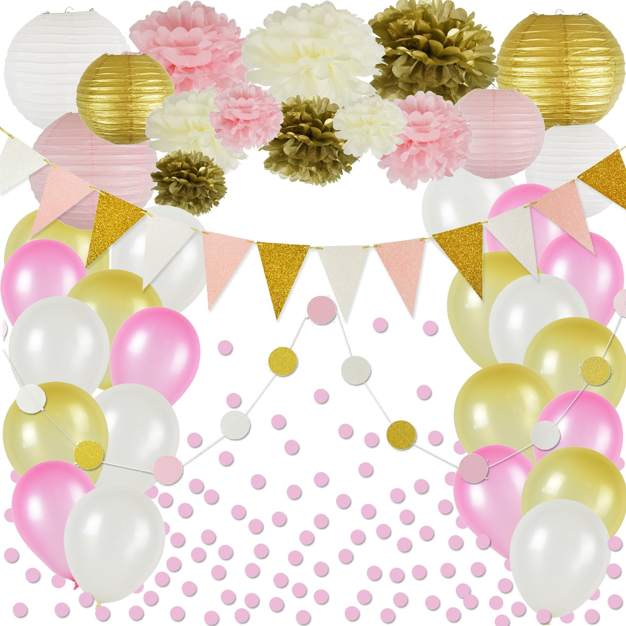 Pink and Gold Party Decorations, 50 pc Pink Party Supplies, Paper Pom Poms, Paper Lanterns, Glitter Garlands, Balloons, Confetti- Birthday Party - Princess Party - Ballerina Party - Bachelorette Party by Shamrise