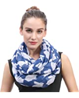 Lina & Lily Rabbit Bunny Print Infinity Loop Women's Scarf Lightweight
