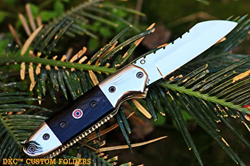 5 5 18 Sale DKC-57-440c Black Hornet 440c Stainless Steel Folding Pocket Knife 4.5 Folded 7.5 Open 3 Blade 7.5 oz