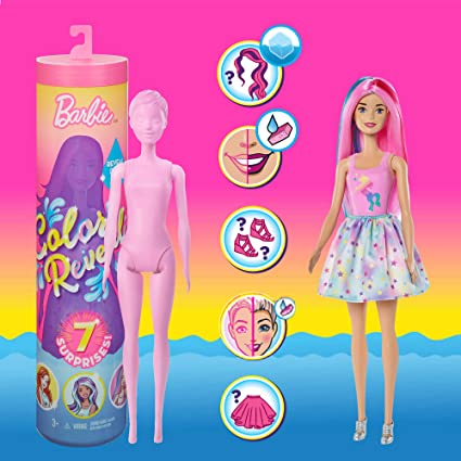 Barbie *COLOR REVEAL DOLL* Blind Mystery Pack Tube 7 Surprises 2019 New