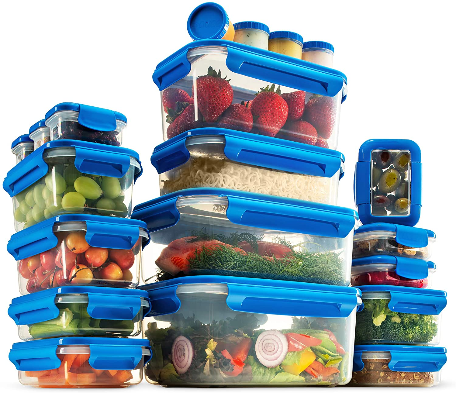40-Piece Airtight Food Containers With Lids - Superior BPA-Free Food Storage Containers Set - 100% Leak Proof Takeaway Containers, Reusable Meal Prep Lunch Boxes - Dishwasher, Microwave & Freezer Safe