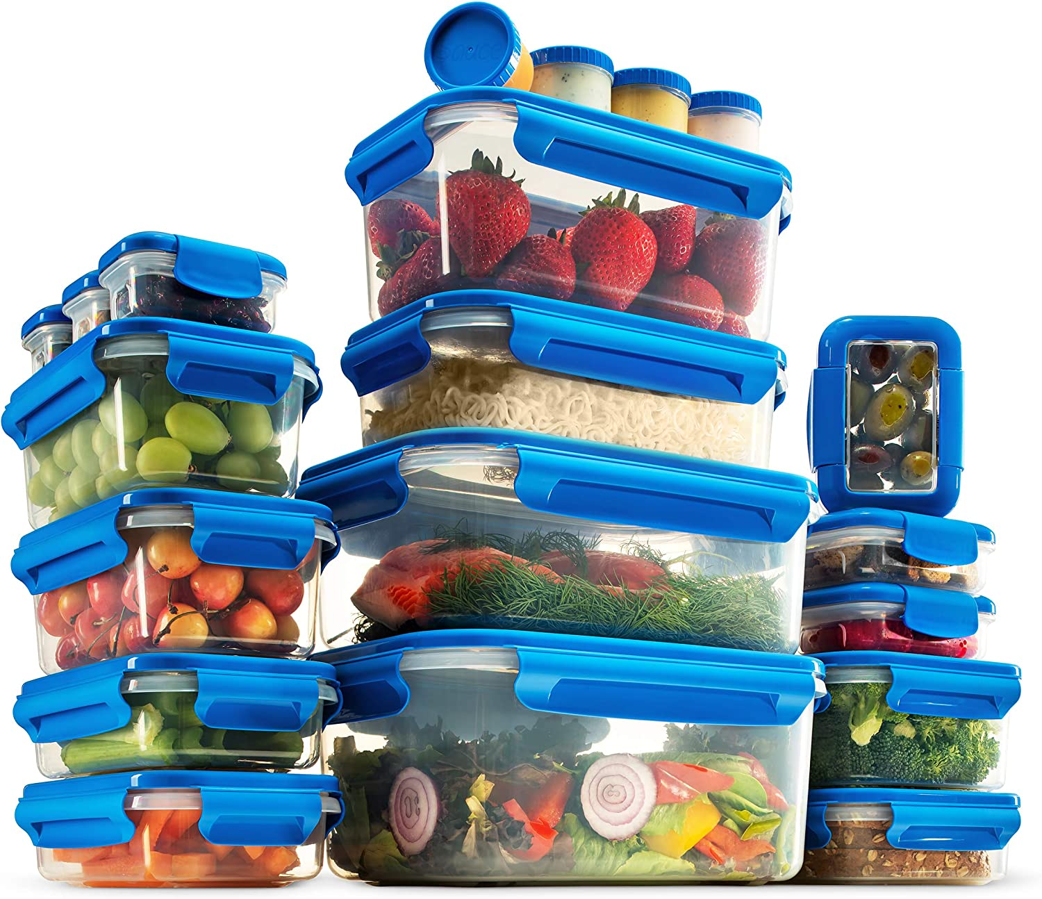 40-Piece Airtight Food Storage Containers Set With Lids - BPA Free Durable Plastic Food Containers Set - 100% Leak Proof Guaranteed - Freezer, Microwave & Dishwasher Safe - Leftover, Meal Prep Etc.