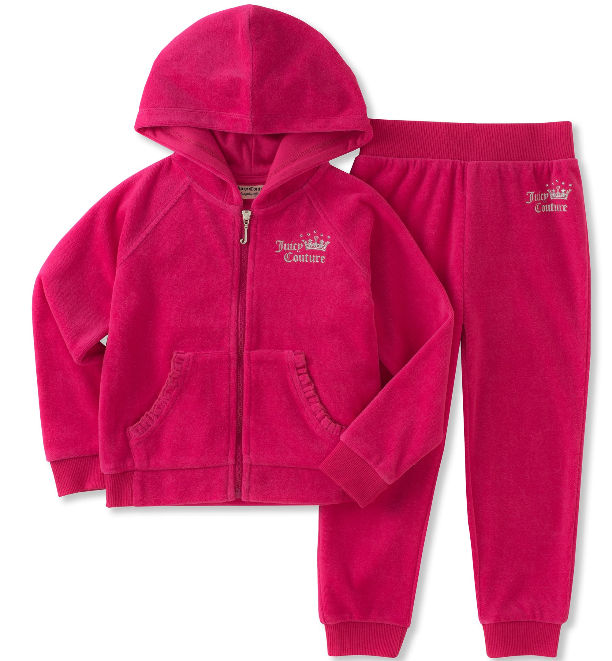 Juicy Couture Girls' 2 Piece Velour Pants Set, Dark Pink, 12M