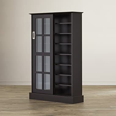 Multimedia Storage Cabinet With Sliding Glass Doors - Holds 576 CD or 192 DVD - Tall Contemporary Media Organizer (Espresso)