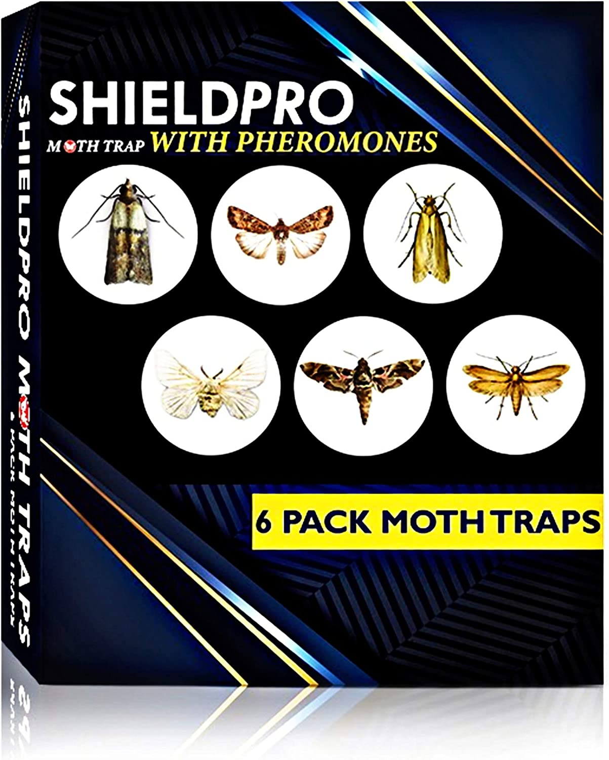 SHIELDPRO Premium Advanced Pantry Moth Traps –6 Packs, Sticky Traps – Moth Traps Eco-Friendly Moth Trap with Pheromone Lure– Odorless Effective – Insect Trap, Bugs Trap Pest for Home, Office