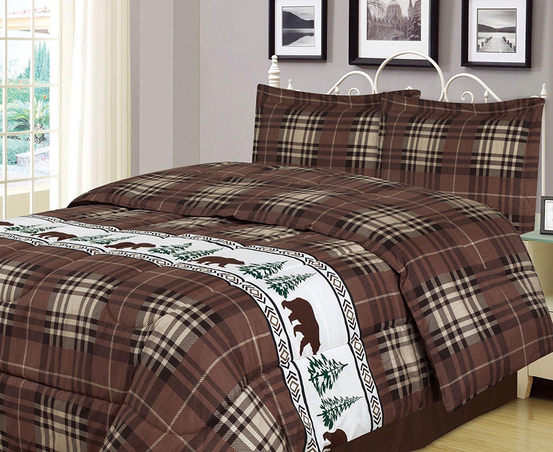 Plaid Bear Full/Queen Comforter 3 Piece Bedding Set Rustic Cabin Lodge