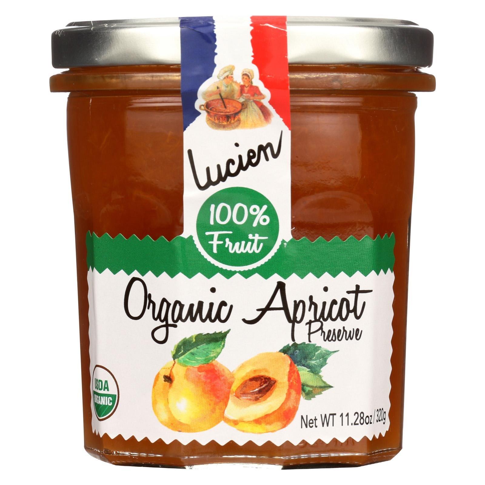 LUCIEN GEORGELIN, Frt Spread, Og1, Apricot, Pack of 6, Size 11.28 OZ, (Gluten Free Low Sodium Vegan Wheat Free Yeast Free 95%+ Organic)