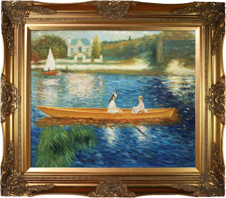 Frame river oil painting-River Impressionism painting-Gold frame Impressionism painting-River house painting-River sky painting