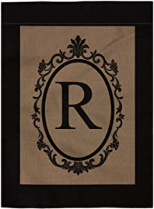 "pingpi R Monogram Double-Sided Burlap Garden Flag - 12.5"" W x 18"" H"