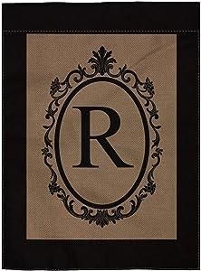 "pingpi R Monogram Double-Sided Burlap Garden Flag - 12.5"" W x 18"" H"