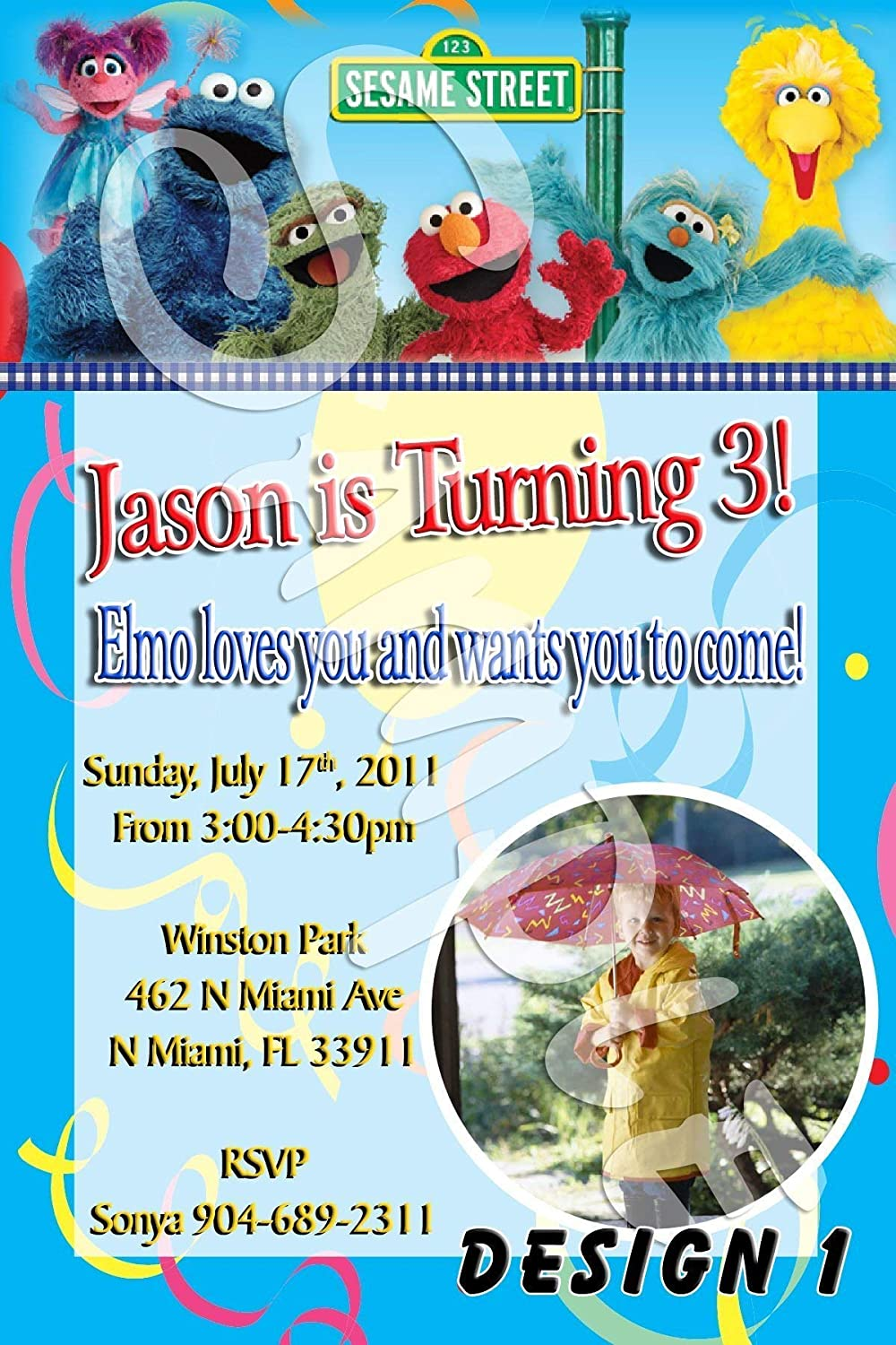 Amazon Sesame Street Personalized Birthday Invitations More Designs Inside Handmade