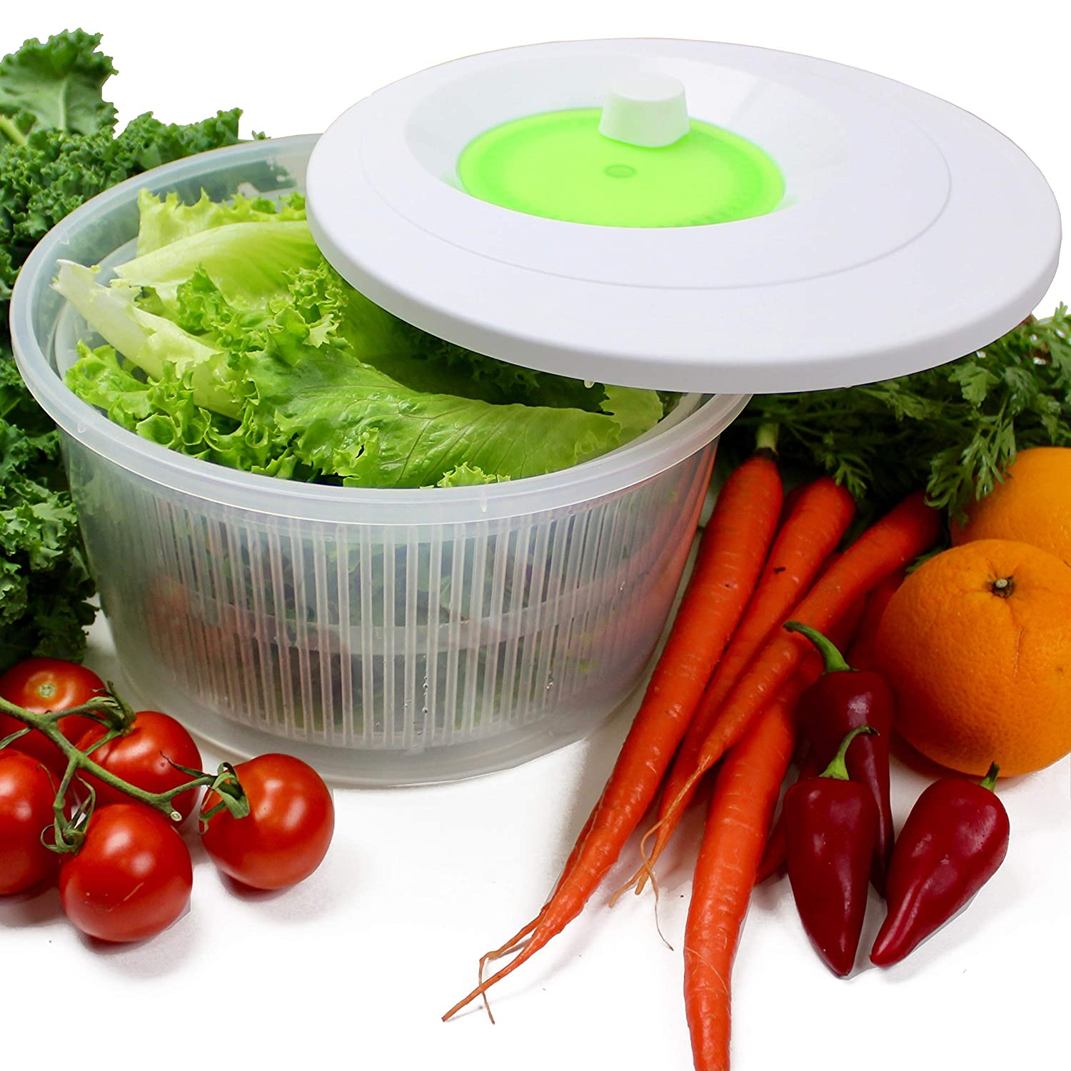 K Basix Large Salad Spinner 4.5 L – Vegetable or Lettuce Dryer, Keeper, Crisper and Shaker, Compact Rotary Handle is Easy to Spin and allows Easy Storage