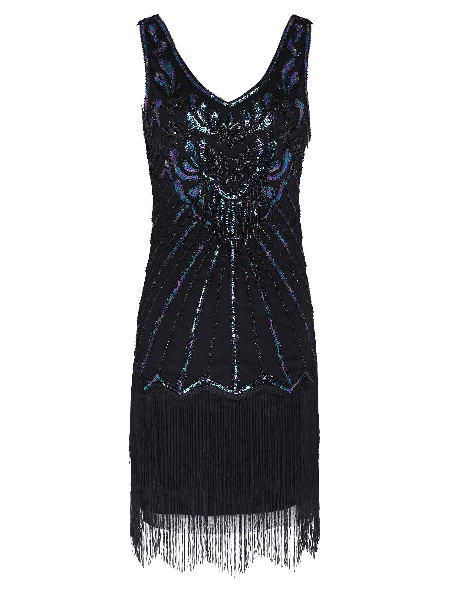 Women's Flapper Dress 1920s V Neck Beaded Fringed Great Gatsby Dress (Black, L)